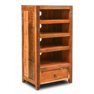 Reclaimed Indian Tall Hi-Fi Shelving Unit