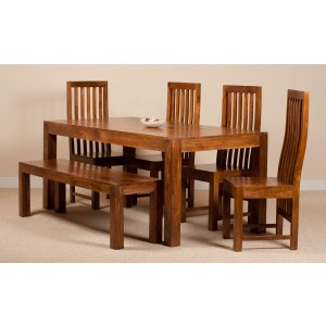Dakota Mango 6 Seater Dining Set With Bench 1