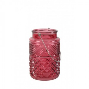 Red Cut Glass Candle Holder - Large