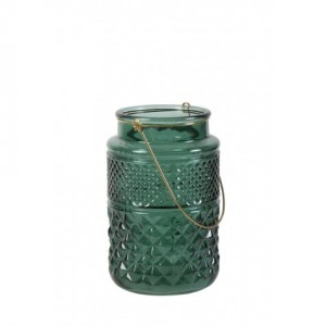 Green Cut Glass Candle Holder - Large