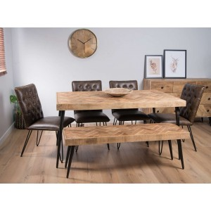 Urban Industrial Mango 6-Seater Dining Bench Set (Manhattan Chairs)