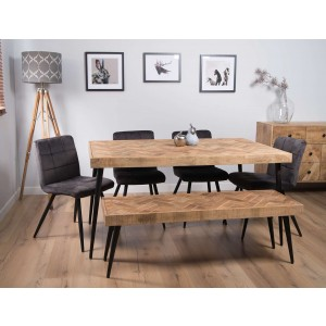 Urban Industrial Mango 6-Seater Dining Bench Set (Capri Grey Chairs)