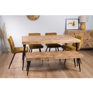 Urban Industrial Mango 6-Seater Dining Bench Set (Ochre Chairs)