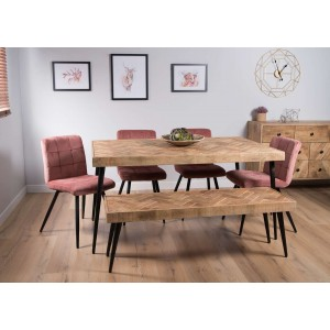 Urban Industrial Mango 6-Seater Dining Bench Set (Soft Pink Chairs)