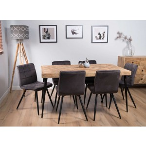 Urban Industrial Mango 6-Seater Dining Set (Capri Grey Chairs)