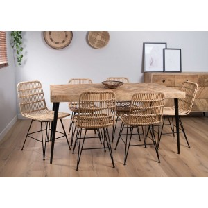 Urban Industrial Mango 6-Seater Dining Set (Havana Chairs)