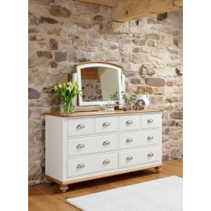 Vermont Painted Oak 8 Drawer Wide Chest 1