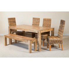Catalina 6-Seater Light Mango Dining Set With Bench