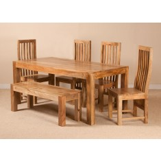 Dakota Light Mango 6 Seater Dining Set With Bench