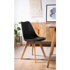 Scandi Pyramid Dining Chair With Pad - Black