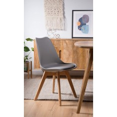 Scandi Pyramid Dining Chair With Pad - Light Grey