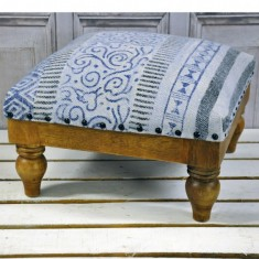 Vintage Stone Washed Cotton Foot Stool