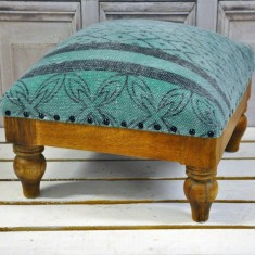Green  Stone Washed Cotton Foot Stool