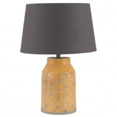 Mustard Stoneware & Etch Detail Table Lamp