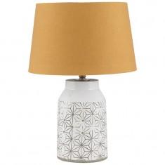 White Stoneware & Etch Detail Table Lamp