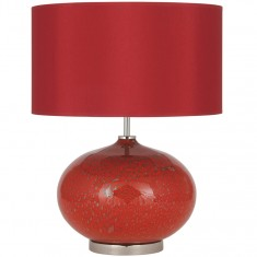 Red Glass Volcanic Table Lamp Complete