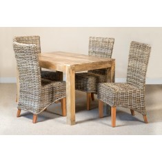Kubu Rattan 4-Seater Light Mango Dining Set