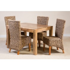 Milano Rattan 4-Seater Light Mango Dining Set