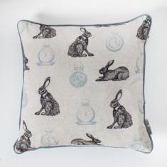 Rabbit and Clock Cushion Duckegg