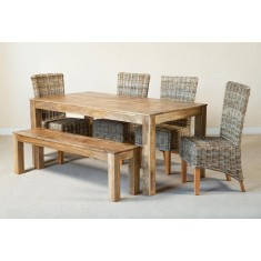 Kubu Rattan 6-Seater Light Mango Dining Set With Bench