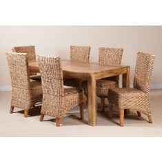 Milano Rattan 6 Seater Light Mango Dining Set