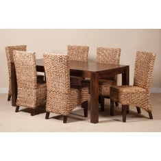 Milano Rattan 6 Seater Dark Mango Dining Set