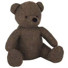 Dark Brown Fabric Bear Doorstop