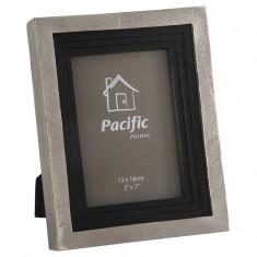 Raw Nickel & Antique Black Wood Photo Frame 7x5in