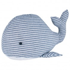 Blue & White Striped Whale Fabric Doorstop