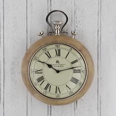 Nickel & Wood Stopwatch Wall Clock