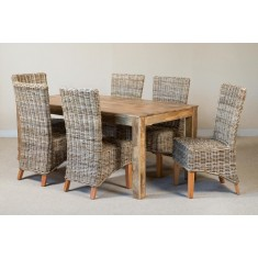 Kubu Rattan 6-Seater Light Mango Dining Set