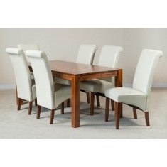 Mandir Sheesham & Leather 6-Seater Dining Set (Ivory)