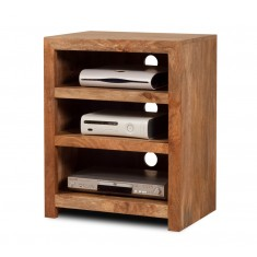 Dakota Light Mango Low Hi-Fi Shelving Unit