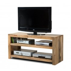 Dakota Light Mango Wide Hi-Fi Shelving Unit
