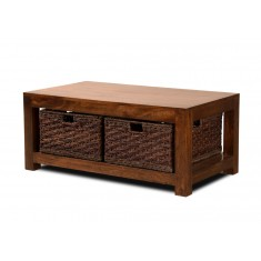 Dakota Mango Large Coffee Table With Baskets (Dark)