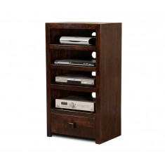 Dakota Dark Mango Tall Hi-Fi Shelving Unit