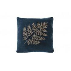 Velvet bronze fern cushion indigo