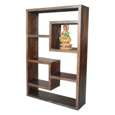 Soho Dark Mango Tall Open Straight Geometric Bookcase/Shelving Unit