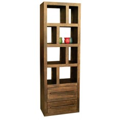 Soho Dark Mango Tall Open 2 Drawer Bookcase/Shelving Unit
