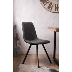 Arizona Leather Dining Chair - Charcoal Grey