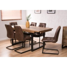 Brooklyn Industrial 6-Seater Extending Leather Dining Set