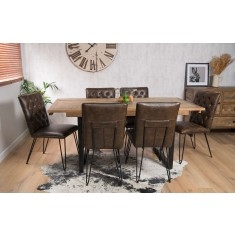 Brooklyn Industrial 6-Seater Extending Dining Set - Manhattan Chairs