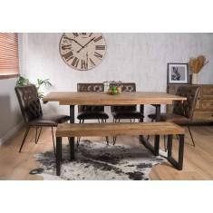 Brooklyn Industrial 6-Seater Extending Dining Bench Set - Manhattan Chairs