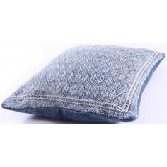 Blue Lattice Cotton Cushion 50x50cm