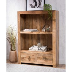Dakota Light Mango Small 2-Drawer Bookcase