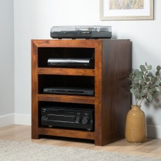 Dakota Mango Low Hi-Fi Shelving Unit