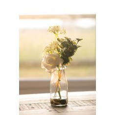Faux Open Rose with Eucalyptus