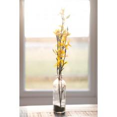Faux Yellow Winter Jasmine In Glass Bottle