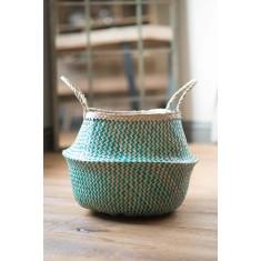 Green Zig Zig Seagrass Basket – Medium