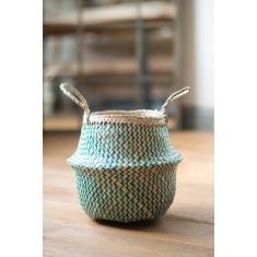Green Zig Zig Seagrass Basket – Small
